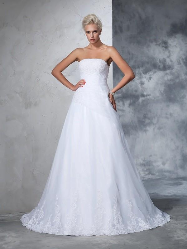 Balklänning Axelbandslös Applikation Ärmlös Långa Nät Brudklänningar