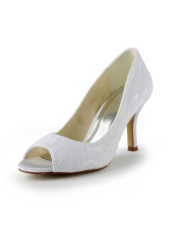 Women's Spetsar Satäng Stiletto Heel Peep Toe Sandalerer Vit Bröllop Skor