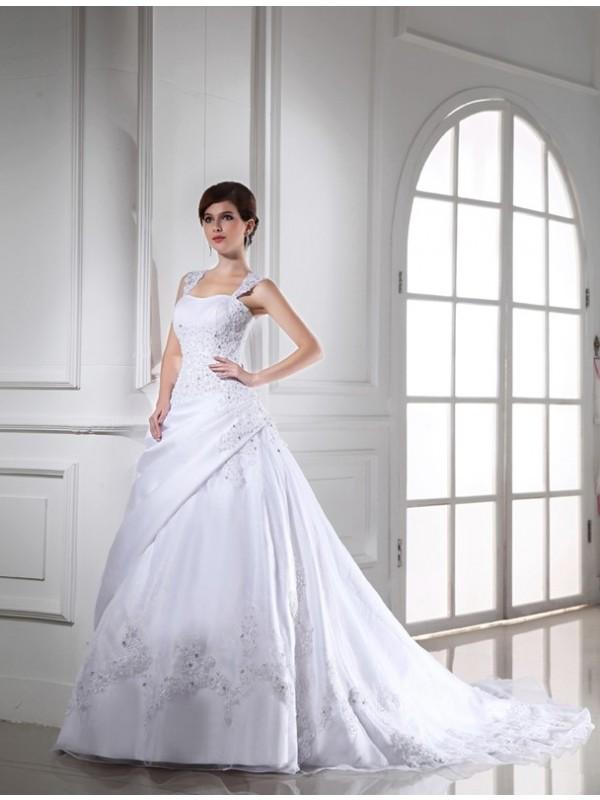 Balklänning Pärlbrodering Ärmlös Långa Satäng Organzapåse Brudklänningar