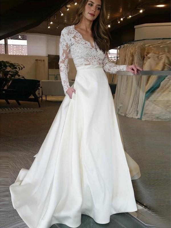 A-linjeformat Långa ärmar Sweep släp V-ringning Applikation Satäng Bröllopsklänningar