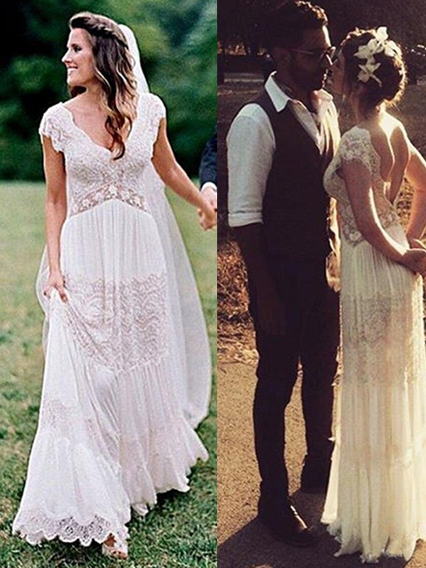 A-linjeformat Spetsar V-ringning Volanger Korta ärmar Golvläng Bröllopsklänningar