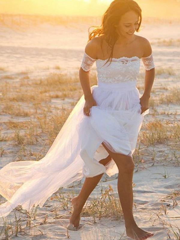 A-linjeformat Chiffong Ärmlös Off-shoulder ringning Spetsar Golvläng Bröllopsklänningar