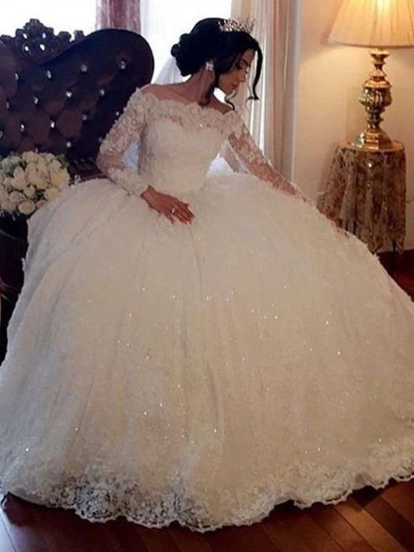 Stora Bateu Långa ärmar Golvläng Spetsar Tyll Bröllopsklänningar