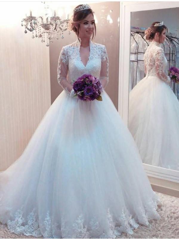 Stora Tyll Applikation Hög hals Långa ärmar Sweep släp Bröllopsklänningar