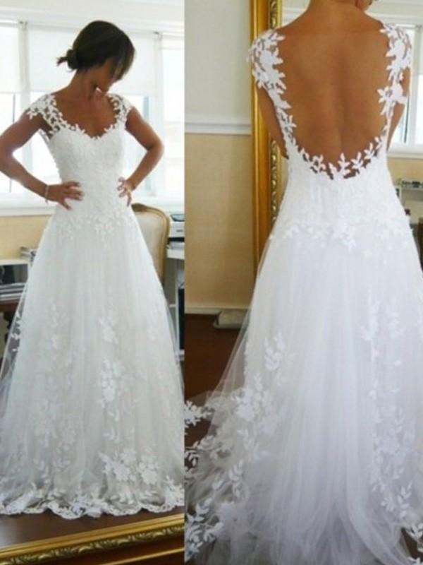 A-linjeformat V-ringning Sweep släp Spetsar Ärmlös Tyll Bröllopsklänningar