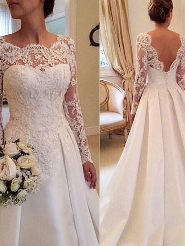 Stora Rund-urringning Långa ärmar Spetsar Court släp Satäng Bröllopsklänningar