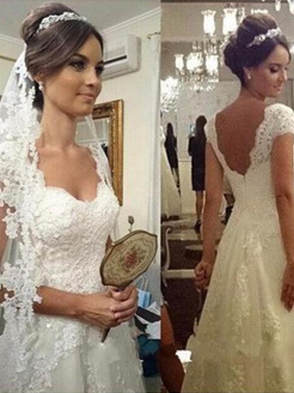 A-linjeformat Hjärtformad Golvläng Ärmlös Spetsar Tyll Bröllopsklänningar