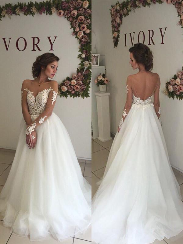 A-linjeformat Organzapåse Off-shoulder ringning Sweep släp Långa ärmar Bröllopsklänningar