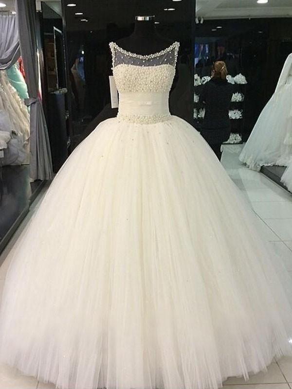 Stora Rund-urringning Pärlbrodering Tyll Ärmlös Golvläng Bröllopsklänningar