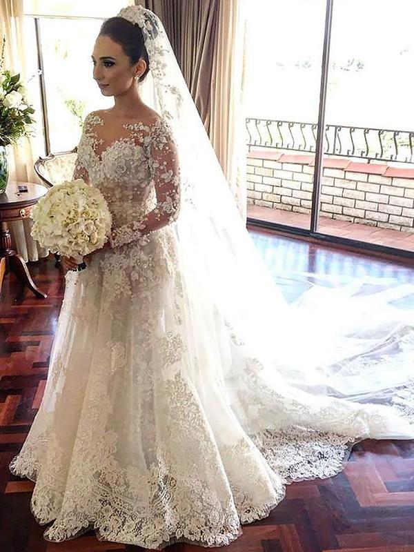A-linjeformat Bateu Långa ärmar Spetsar Chapel släp Tyll Bröllopsklänningar