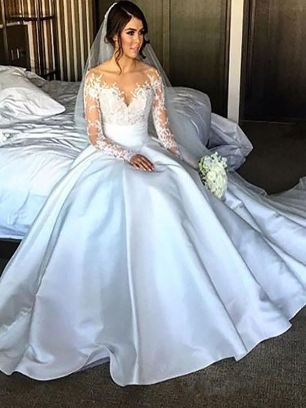 Stora Långa ärmar Satäng Court släp Bröllopsklänningar