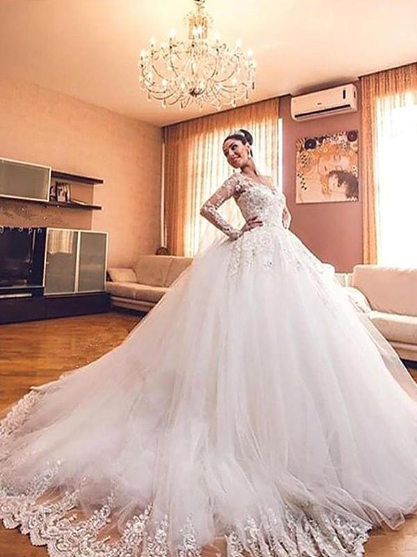 Stora Långa ärmar Tyll V-ringning Court släp Bröllopsklänningar
