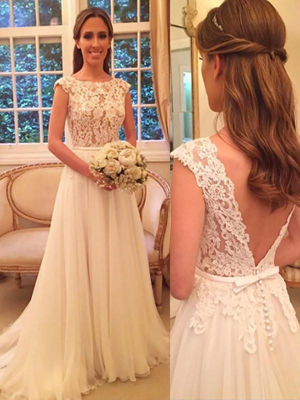 A-linjeformat Chiffong Rund-urringning Sweep släp Ärmlös Bröllopsklänningar
