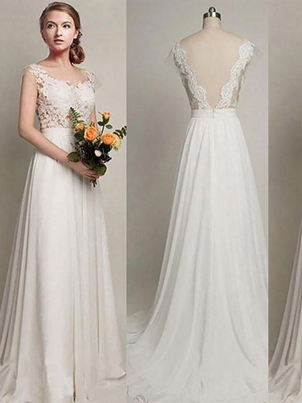 A-linjeformat Chiffong Rund-urringning Ärmlös Sweep släp Bröllopsklänningar
