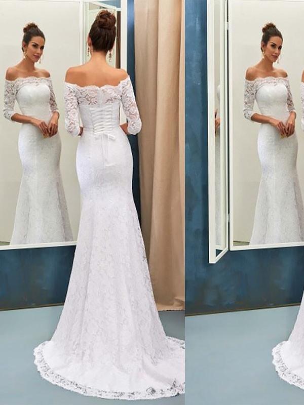Trumpet/Sjöjungfru Off-shoulder ringning Sweep släp Spetsar Långa ärmar Bröllopsklänningar