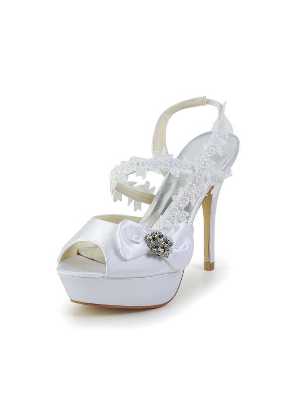 Women's Satäng Peep Toe Stiletto Heel Vit Skor Dekorera med Wedding Rosett