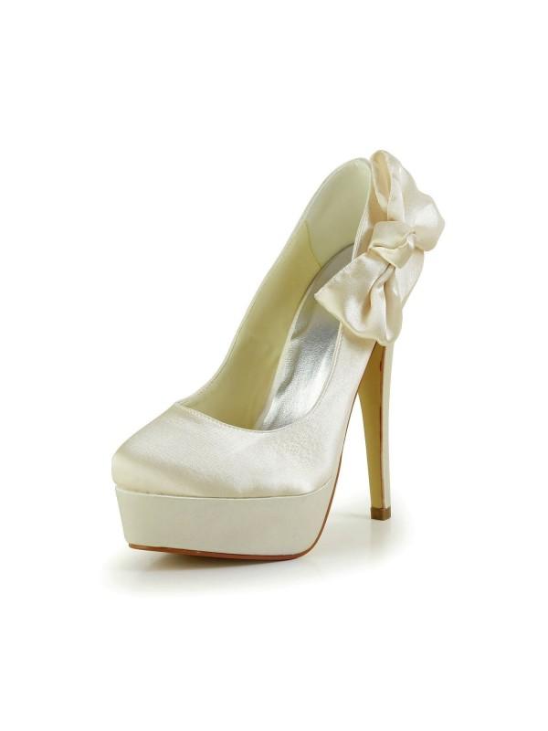 Women's Satäng Stiletto Heel Closed Toe Platform Champagne Bröllop Skor Dekorera med Rosett