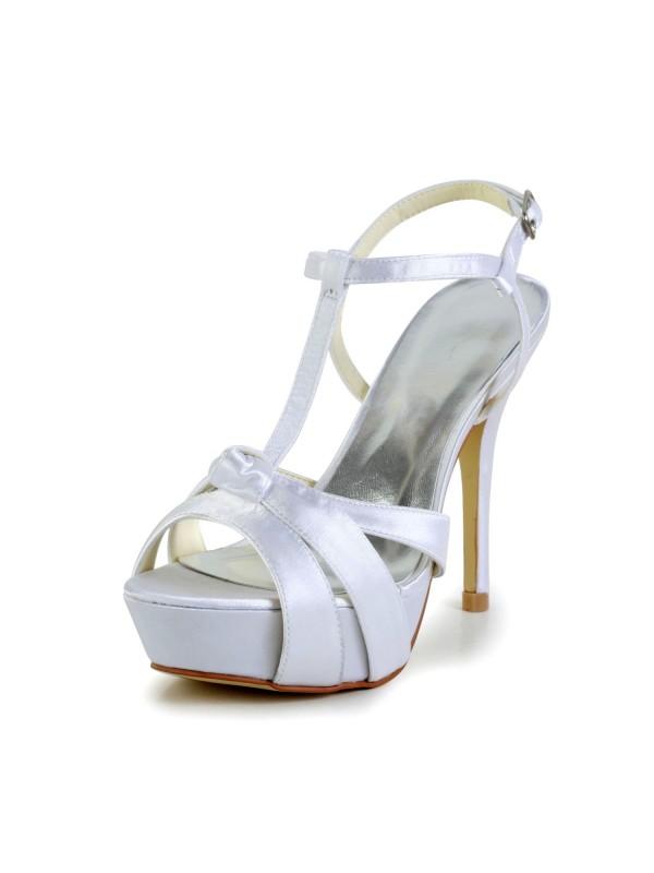 Women's Satäng Stiletto Heel Peep Toe Slingbacks Sandaler Vit Bröllop Skor Dekorera med Buckle
