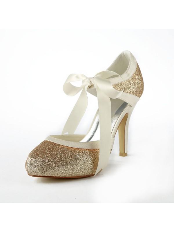Women's Satäng Stiletto Heel Pumps Dekorera med Sparkling Glitter Vit Bröllop Skor