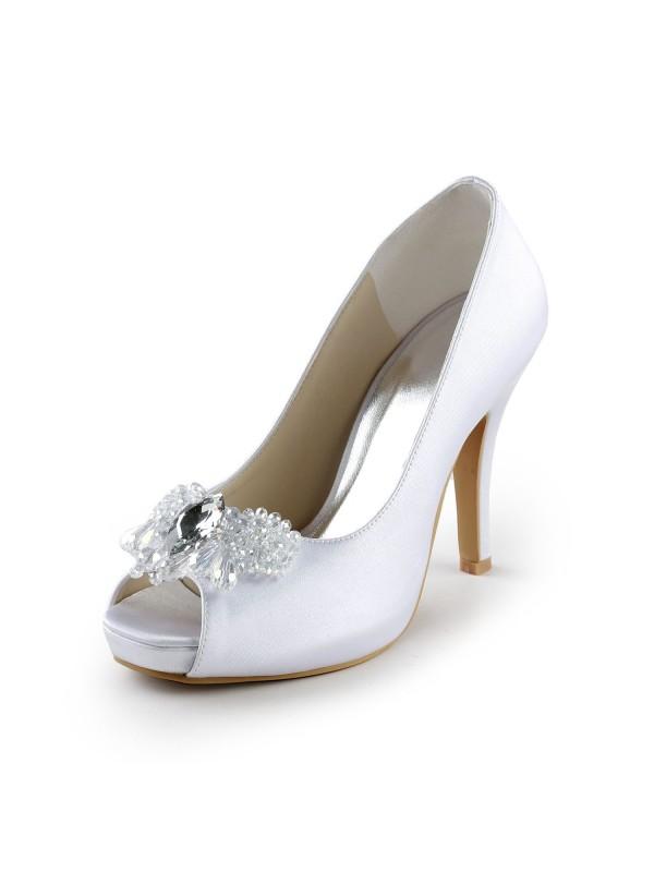 Women's Satäng Upper Stiletto Heel Peep Toe Pumps Dekorera med Rhen Sten Vit Bröllop Skor