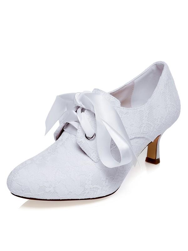Women's Satäng Closed Toe Silk Spool Heel Bröllop Skor