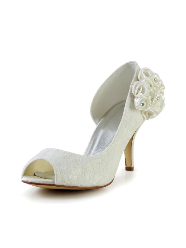 Women's Trendy Stiletto Heel Satäng Ivory Bröllop Skor Dekorera med Blommor