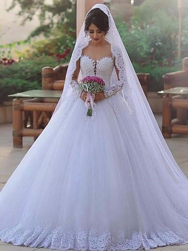 Stora Hjärtformad Långa ärmar Sweep släp Spetsar Tyll Bröllopsklänningar