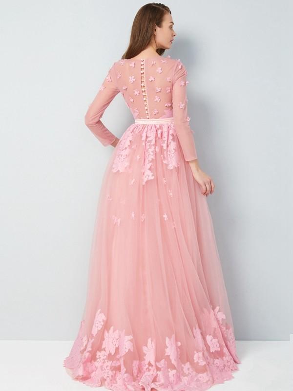 8c480cb6403e A-Line/Princess Scoop 3/4 Sleeves Floor-Length Applique Tulle Dresses