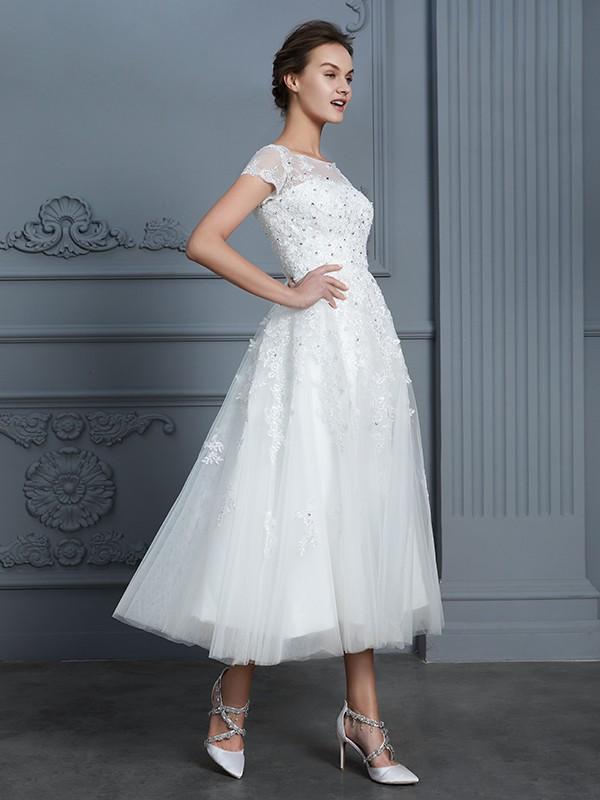 57c10f71d875 ... A-Line/Princess Scoop Short Sleeves Tea-Length Beading Tulle Wedding  Dresses ...