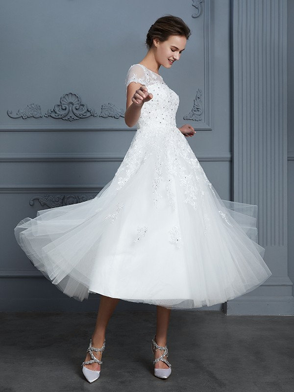 ae31c3a70d28 ... A-Line/Princess Scoop Short Sleeves Tea-Length Beading Tulle Wedding  Dresses ...