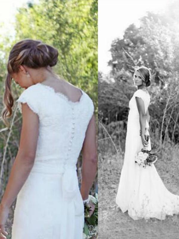 0efcd2d0352d A-Line/Princess Tulle Lace V-neck Sleeveless Sweep/Brush Train Wedding ...