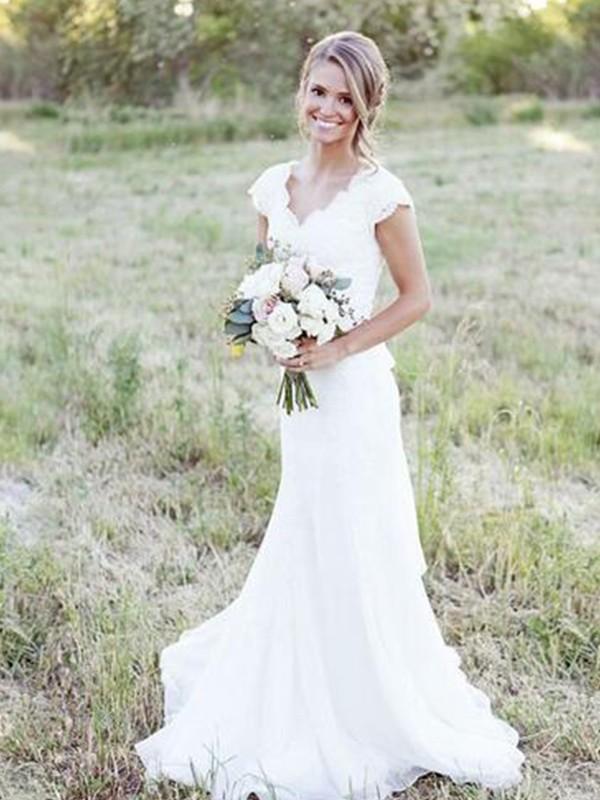 e48013d6ff44 ... A-Line/Princess Tulle Lace V-neck Sleeveless Sweep/Brush Train Wedding