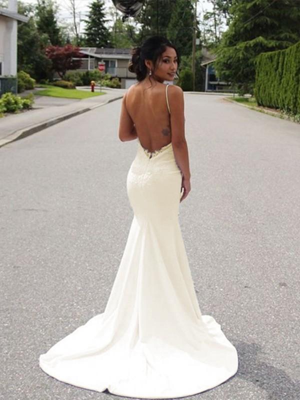 42511a713119 Trumpet/Mermaid Spaghetti Straps Sleeveless Sweep/Brush Train Lace Satin  Wedding Dresses