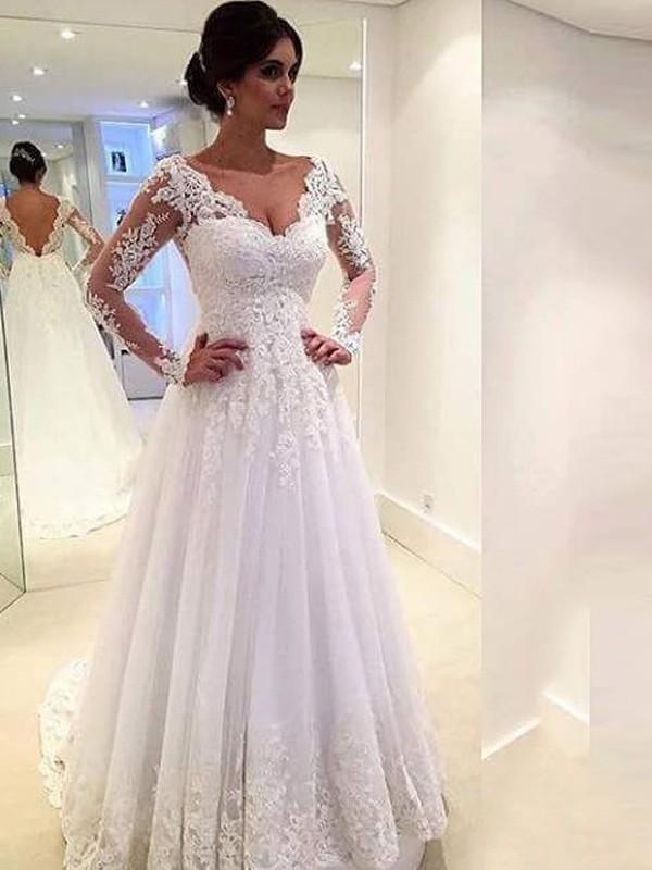 Stora V-ringning Långa ärmar Spetsar Court släp Tyll Bröllopsklänningar d7165bd564532