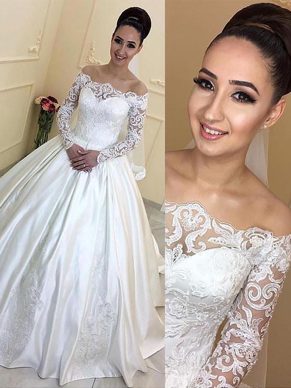 Stora Långa ärmar Off-shoulder ringning Satäng Court släp Bröllopsklänningar 405e2fe428662