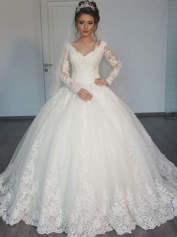 cc195082390b Stora Långa ärmar Court släp V-ringning Tyll Bröllopsklänningar at ...