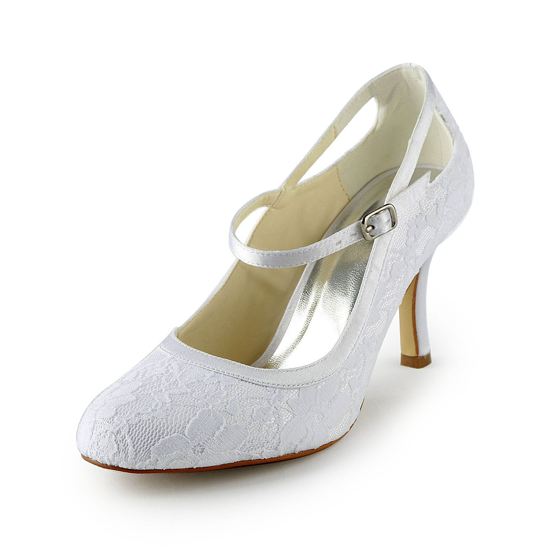 e2bdd80237e Women's Pretty Satäng Stiletto Heel Pumps Dekorera med Buckle Vit Bröllop  Skor