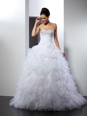 Balklänning Hjärtformad Pärlbrodering Ärmlös Långa Organzapåse Brudklänningar