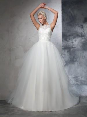Balklänning Bateu Applikation Ärmlös Långa Nät Brudklänningar