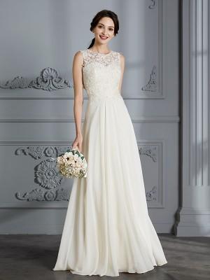 A-linjeformat Rund-urringning Chiffong Ärmlös Golvläng Bröllopsklänningar