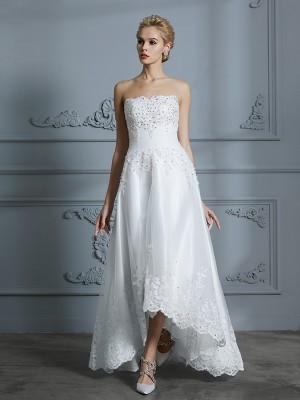A-linjeformat Hjärtformad Ärmlös Pärlbrodering Asymmtrisk Tyll Bröllopsklänningar