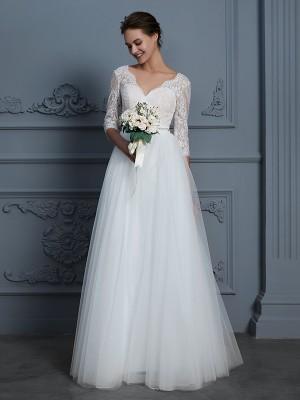 A-linjeformat V-ringning 3/4 Ärmar Golvläng Spetsar Tyll Bröllopsklänningar