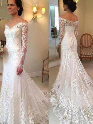 Trumpet/Sjöjungfru Off-shoulder ringning Court släp Långa ärmar Applikation Spetsar Bröllopsklänningar