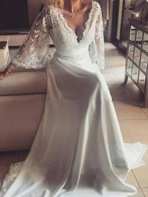 A-linjeformat V-ringning Långa ärmar Band/bälte Court släp Spetsar Bröllopsklänningar