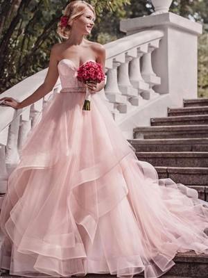 Stora Hjärtformad Ärmlös Court släp Lager Organzapåse Bröllopsklänningar