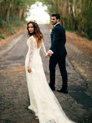 Slida/Kolumn Långa ärmar V-ringning Court släp Applikation Spetsar Bröllopsklänningar
