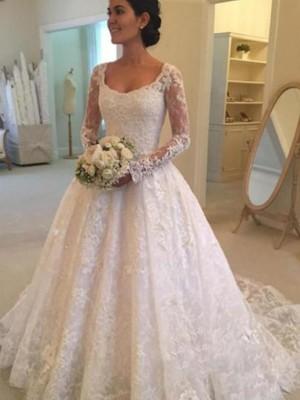 Stora Långa ärmar Rund-urringning Domkyrkan tåg Rufsar Spetsar Bröllopsklänningar