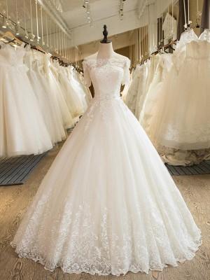 Stora 1/2 Ärmar Off-shoulder ringning Golvläng Applikation Spetsar Tyll Bröllopsklänningar