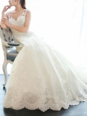 A-linjeformat Ärmlös V-ringning Court släp Applikation Spetsar Bröllopsklänningar