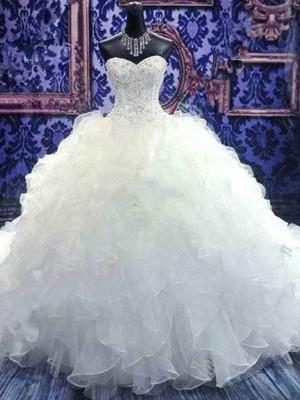 Stora Ärmlös Hjärtformad Chapel släp Pärlbrodering Paljetterad Organzapåse Bröllopsklänningar